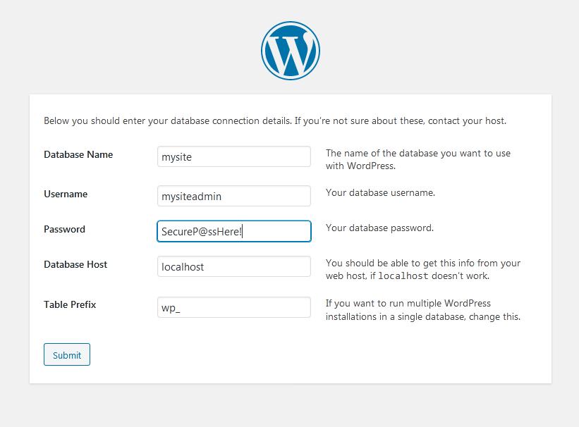 wordpress database settings - How to Install LAMP & WordPress Ubuntu and Debian
