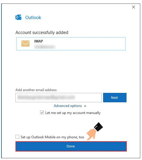 account successfully added - How Setup Outlook with Email Hosting (Cpanel)