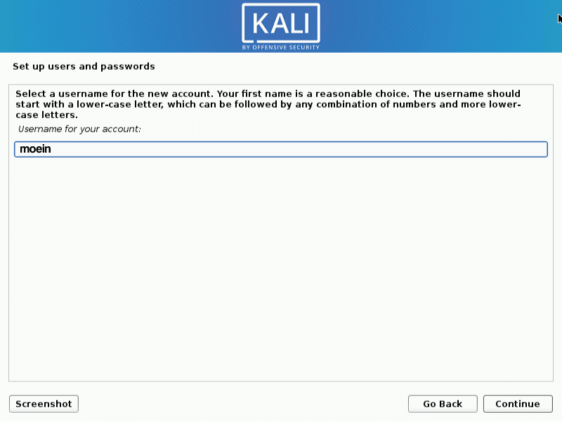 username - How to install KaliLinux in VirtualBox
