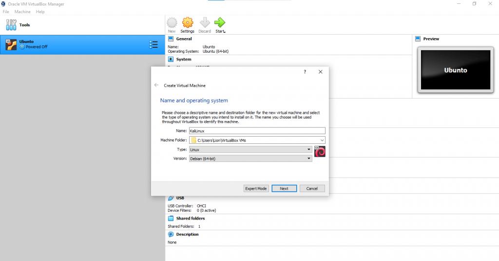 vbox kali 1 1024x535 - How to install KaliLinux in VirtualBox