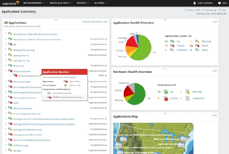 solarwinds server and application monitor - Top & best server monitoring tools for Linux