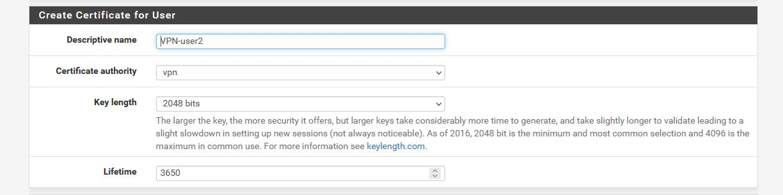 create cert for user - How Add New OpenVPN User in Pfsense