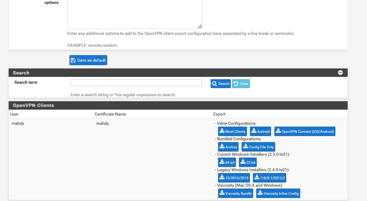 openvpn client - How to download OpenVPN profiles in pfsense