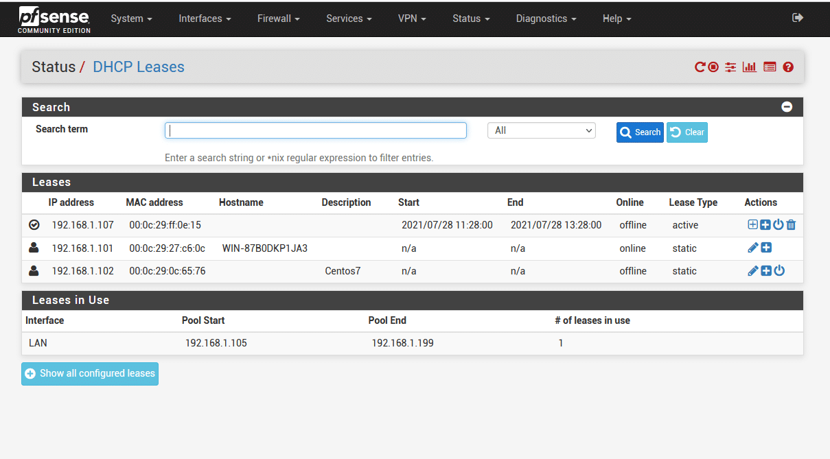 pfsense dhcp leases 1 - How set static IP for LAN Client in Pfsense