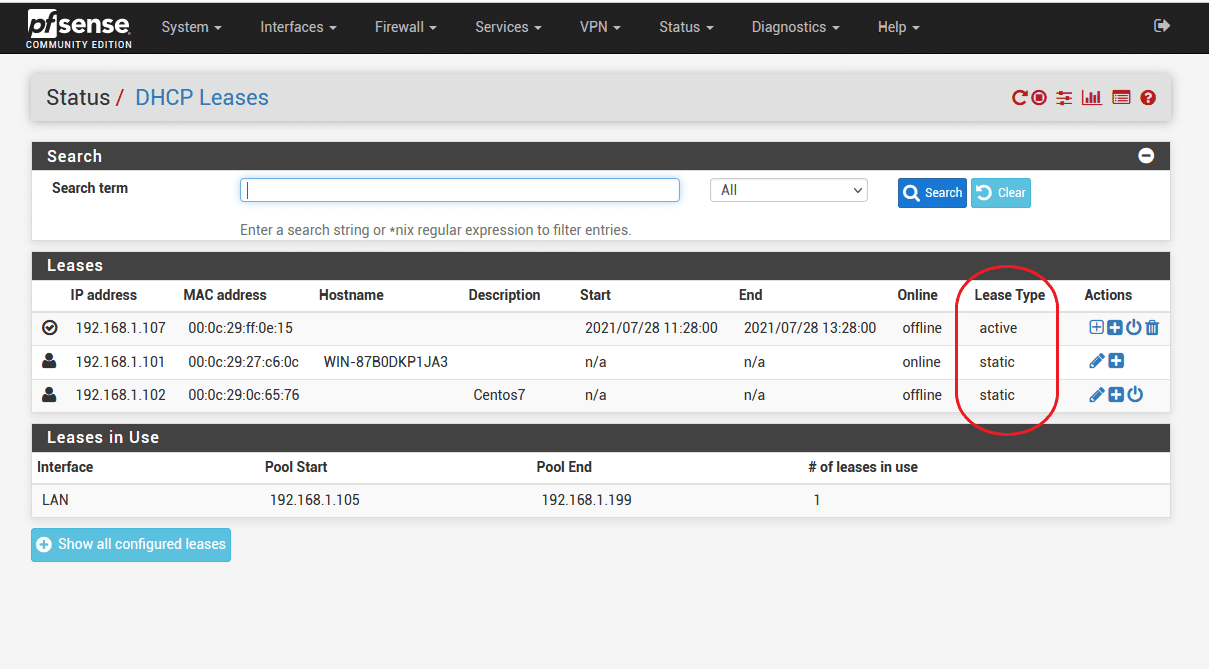 pfsense dhcp leases 2 - How set static IP for LAN Client in Pfsense