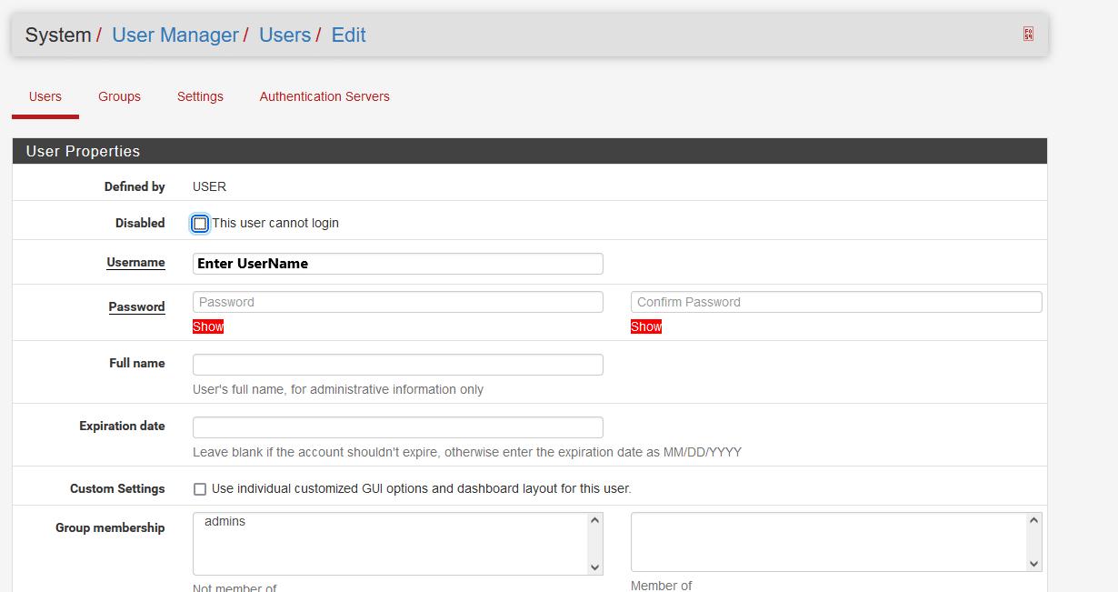 pfsense user manager add new user2 - How Add New OpenVPN User in Pfsense